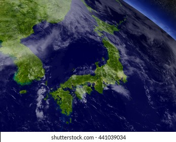 Japan with surrounding region as seen from Earth's orbit in space. 3D illustration with highly detailed realistic planet surface and clouds in the atmosphere. Elements of this image furnished by NASA.