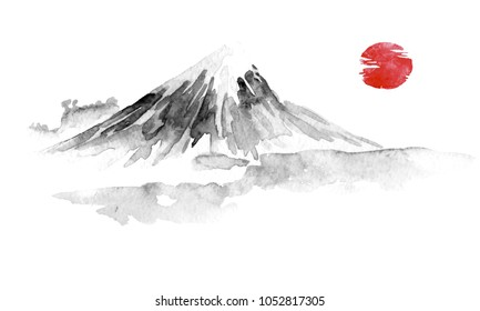 Japan traditional sumi-e painting. Fuju mountain. Indian ink illustration. Japanese picture.