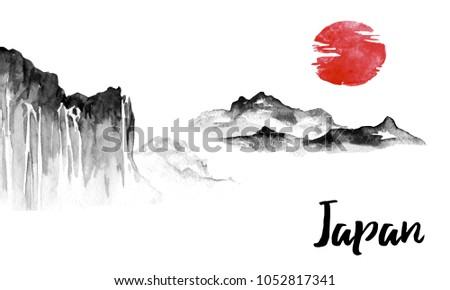 japan traditional sumie painting indian ink stock illustration