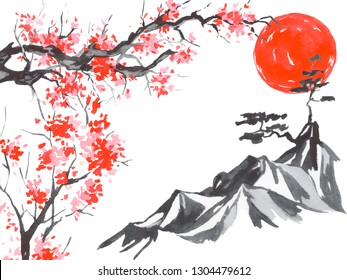 Japan traditional sumi-e painting. Watercolor and ink illustration in style sumi-e, u-sin. Fuji mountain, sakura, sunset. Japan sun. Indian ink illustration. Japanese picture.