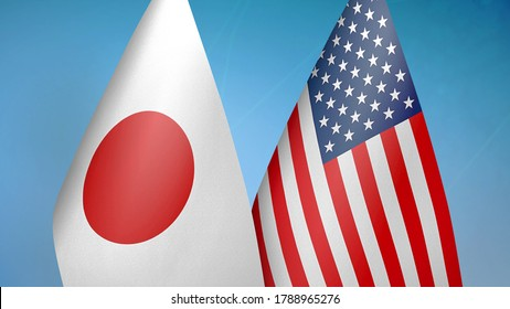 Japan and United States two flags together blue background 3D rendering