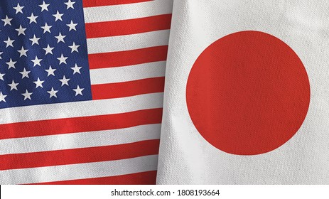 Japan and United States two folded flags together 3D rendering