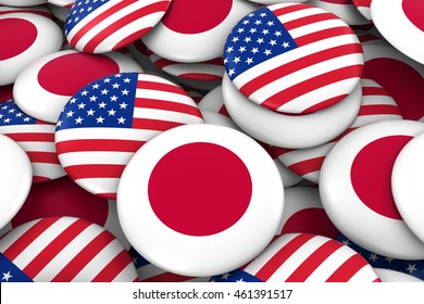 Japan and USA Badges Background - Pile of Japanese and American Flag Buttons 3D Illustration