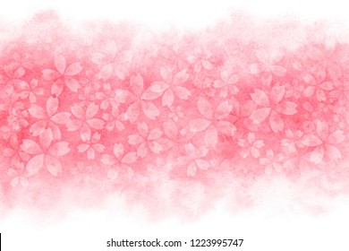 Japanese cherry blossom abstract on pink watercolor paint background