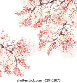 Фотообои Japanese cherry blossom cherry flower Watercolor illustration