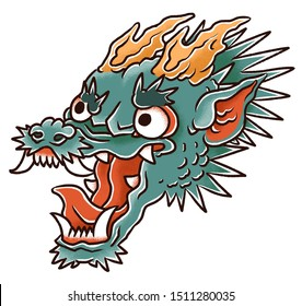 Japanese or chinese dragon head with spikes