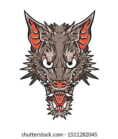 Japanese or chinese wolf head with spikes