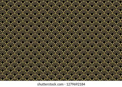 Japanese circle illustration seamless pattern background.Design style