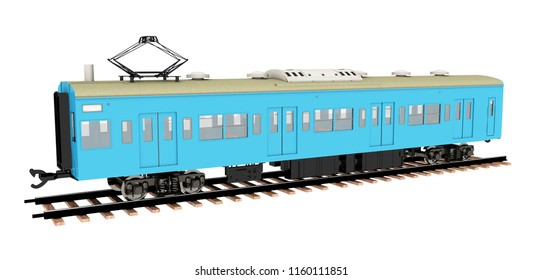 Japanese commuter train isolated on white background Computer generated 3D illustration