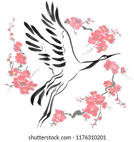 Japanese crane bird drawing .  Red stylized flowers of plum mei, wild apricots and sakura . Watercolor and ink illustration in style sumi-e, u-sin, go-hua Oriental traditional painting. Isolated .