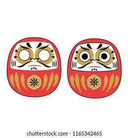 Japanese Daruma Dolls with and without eyes. Traditional red mascot for asian new Year holidays