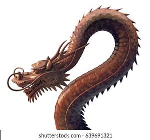 Japanese dragon 3d illustration isolated on white background