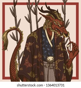 Japanese dragon man with a pearl
