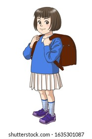A Japanese elementary school girl wearing a school backpack