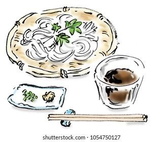 Japanese food Freehand drawing illustration somen