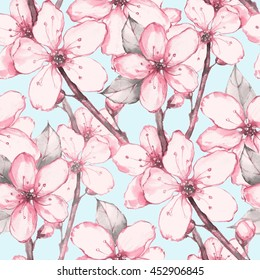 Japanese garden 12. Watercolor seamless floral pattern. Hand drawn background