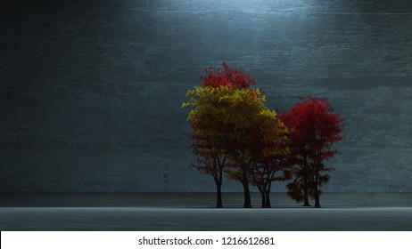 Japanese garden. Colorful trees. 3D rendering