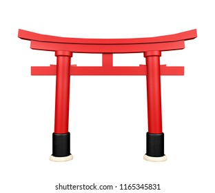 Japanese gateway Torii isolated on white background, 3d rendering