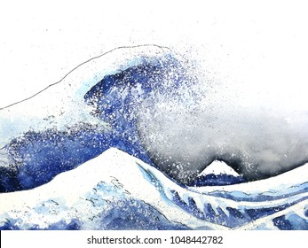 japanese great wave art. watercolor style.hand drawn