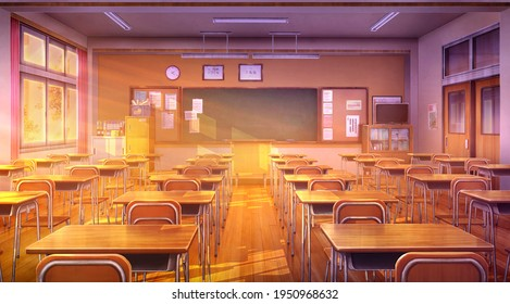 Japanese high school classrooms, 2D Illustration - at evening time.