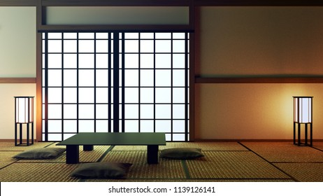 Japanese interior design,modern living room with table and decoration. 3D rendering