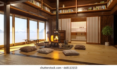 Japanese interior. Modern japan interior design