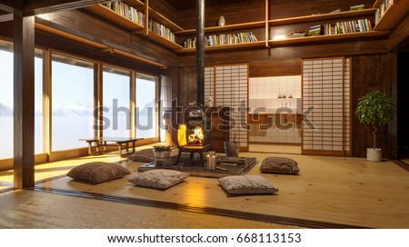 Japanese Interior Modern Japan Interior Design Stock Illustration