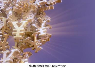 Japanese Jen currency symbol ¥ JPY 3D rendering illustration