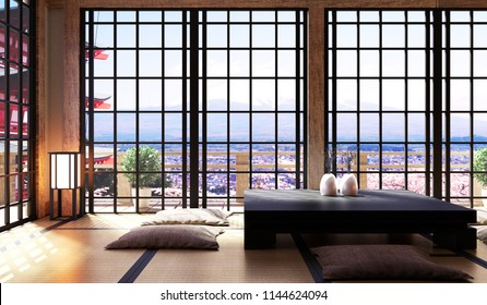 Japanese living room interior in living room minimal design, low table on floor tatami mat, view fuji mountain. 3D rendering