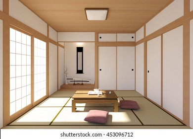 Japanese living room interior in traditional and minimal design with Tatami mat floor, Japanese Shoji door and Japanese sword, 3D rendering