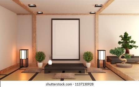 Japanese living room with lamp, frame, black low table and bonsai in room white wall on floor tatami mat. 3D rendering
