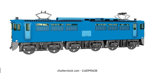 Japanese long distance train isolated on white background Computer generated 3D illustration