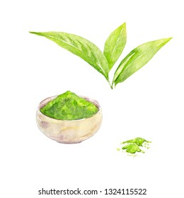 Japanese matcha powder and green tea leaves. Hand painted objects for tea ceremony. Watercolor illustration on white background.