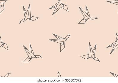 Japanese origami bird seamless pattern