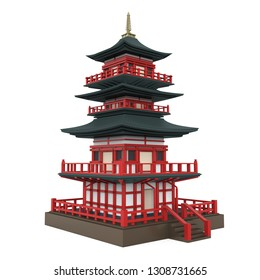 Japanese Pagoda Tower Isolated. 3D rendering