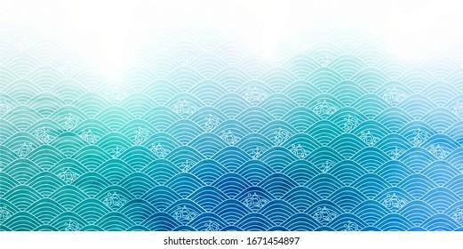 Japanese paper sea ocean wave background