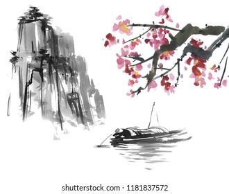Japanese picture. Japan traditional art Sumi-e painting. Fuji mountain, sakura, sunset, sun.