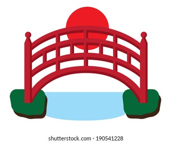 Japanese Red Bridge over Water Illustration