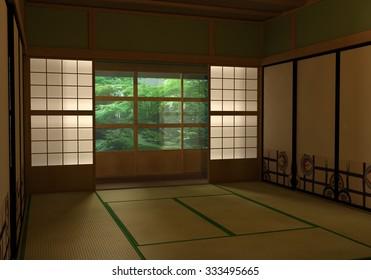 Japanese room 3D rendering