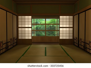 Japanese room 3D rendering