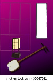 japanese room with the instrumental  vector Illustration