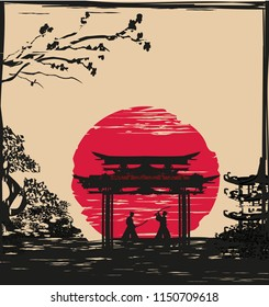 Japanese Samurai fighters silhouette on Asian landscape