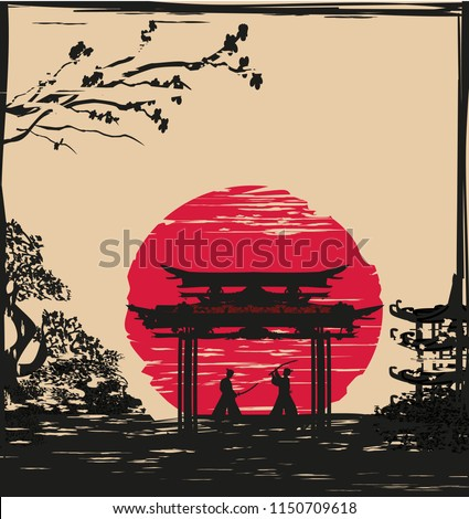 Japanese Samurai fighters silhouette