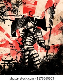 Japanese samurai soldier with flag