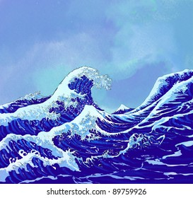 japanese sea waves with blue sky