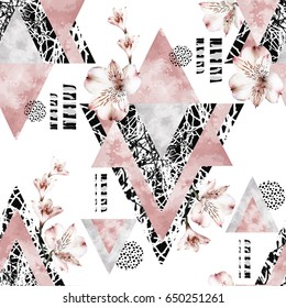 Japanese seamless pattern with pink watercolor flowers sakura and textured triangles. Abstract background. Triangle with grunge textures. Geometric and Hand drawn floral illustration.