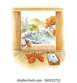 Japanese spa -autumn-