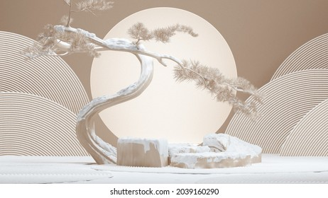 japanese style abstract background.podium and bonsai tree snow season background for product presentation. 3d rendering illustration.