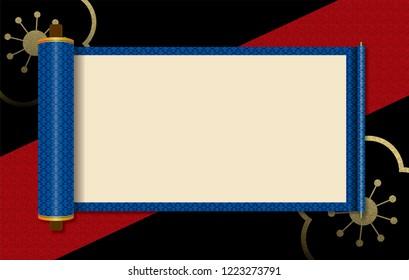 Japanese style image, scroll illustration