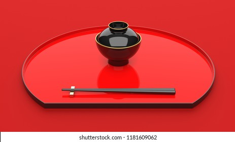Japanese tableware 3d rendering